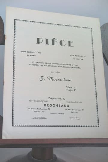 Moerenhout J - Piece for Clarinet & Piano